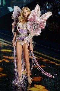 Lily Donaldson on the runway at Victoria's Secret Fashion Show at Earl's Court.